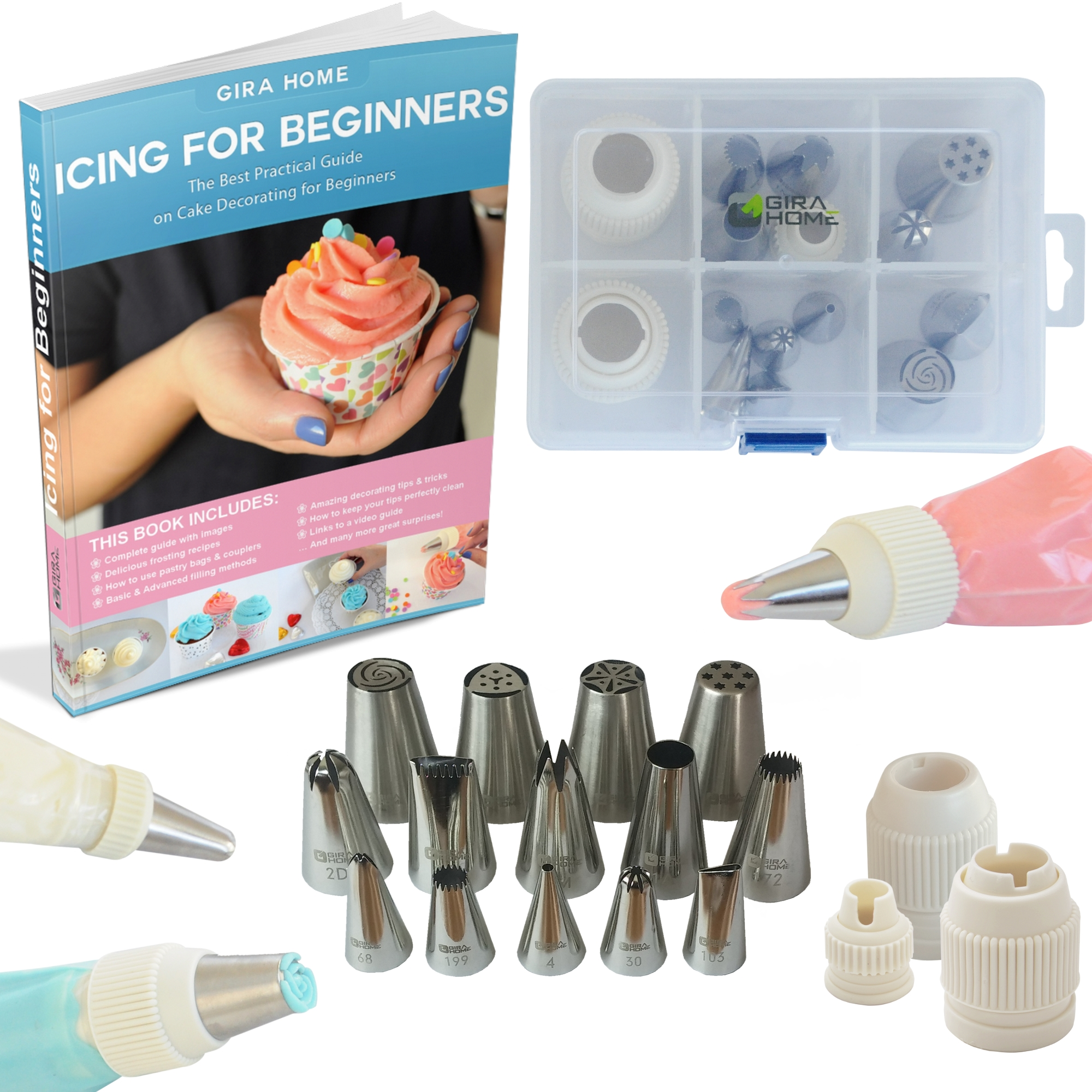 Cake Decorating Kit With Book : Premium Cake Decorating Tips Kit