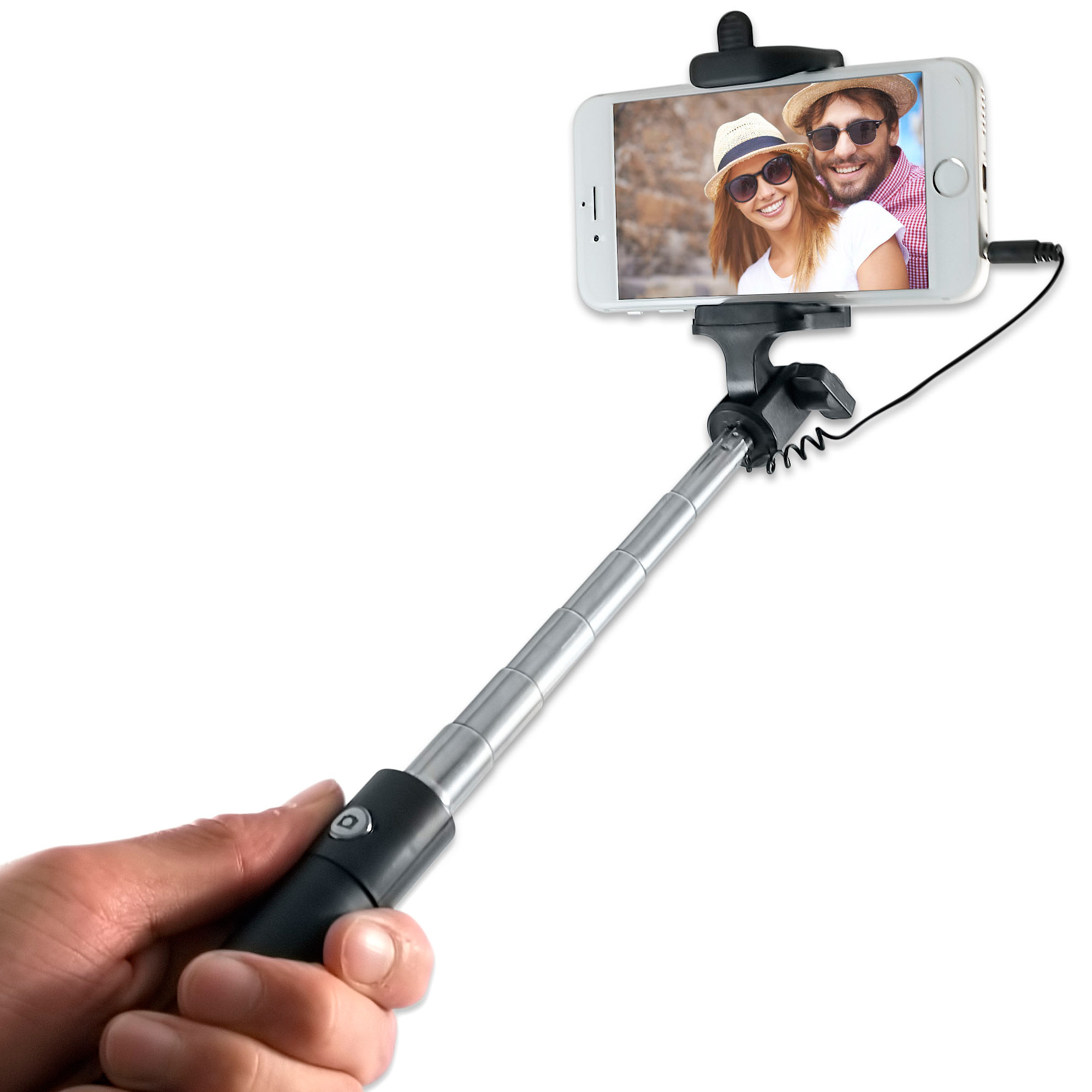 Mini Wired Selfie Stick for iPhone & Android