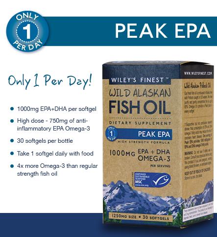 2 new wiley 39 s finest wild alaskan fish oil peak epa for Wiley s fish oil