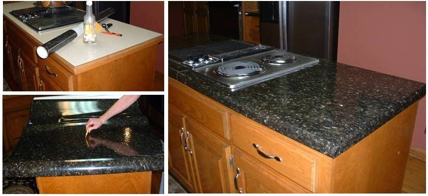 Peel And Stick Faux Granite Countertops : Review our ez faux granite update your counters to