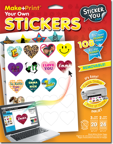 The specialized StickerYou glossy sticker templates (8.5 x 11 in size) come ready for printing in your inkjet printer. They are available for purchase at place like Hobby Lobby, Mastermind and Scholars Choice.