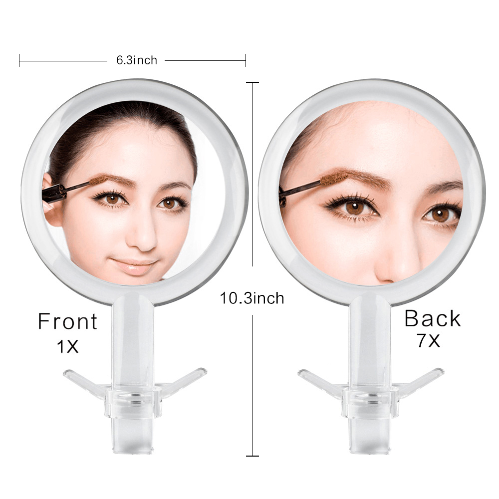 Double Sided 1x 7x Magnification Hand Held Makeup Mirror