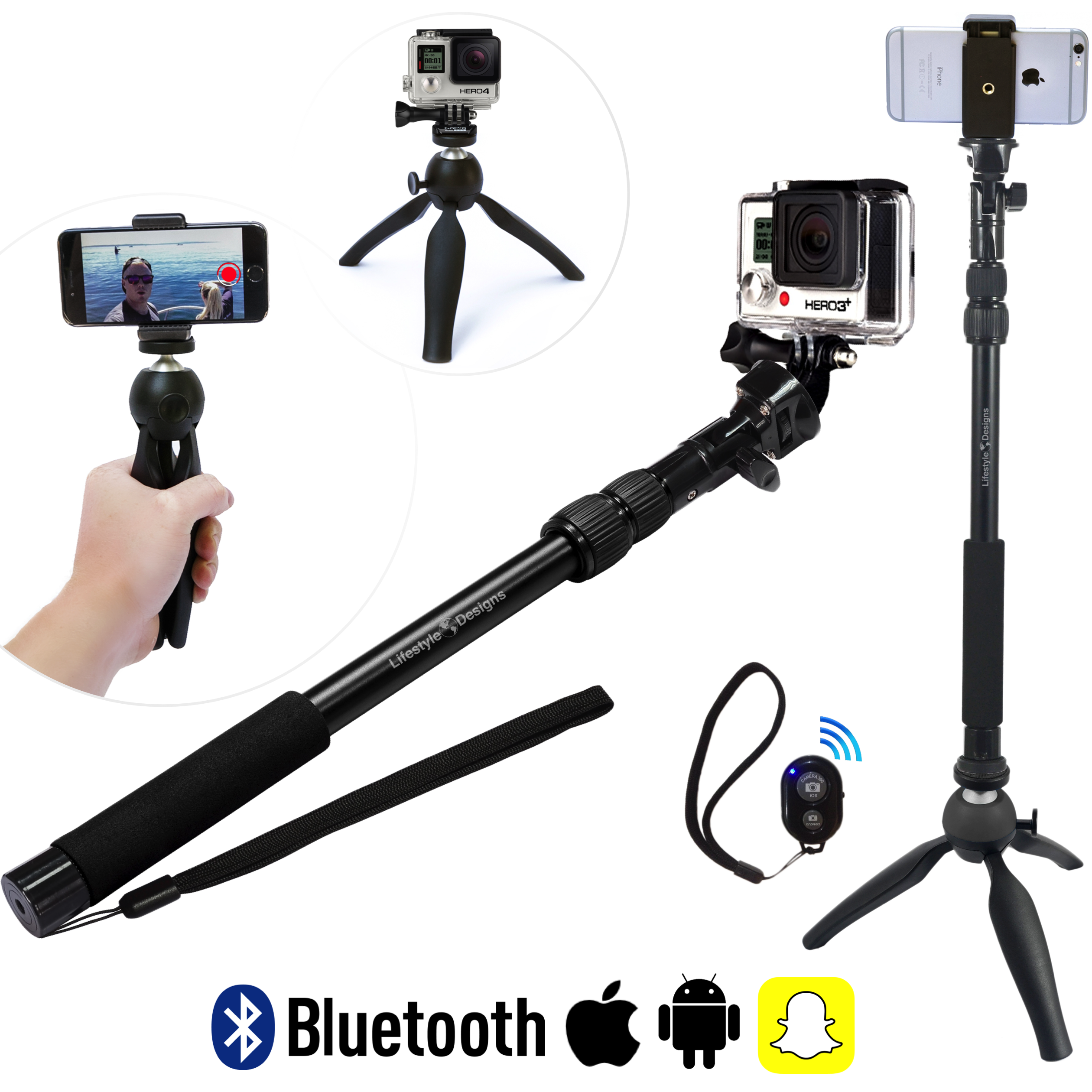 hd gopro selfie stick with tripod snapchat remote. Black Bedroom Furniture Sets. Home Design Ideas