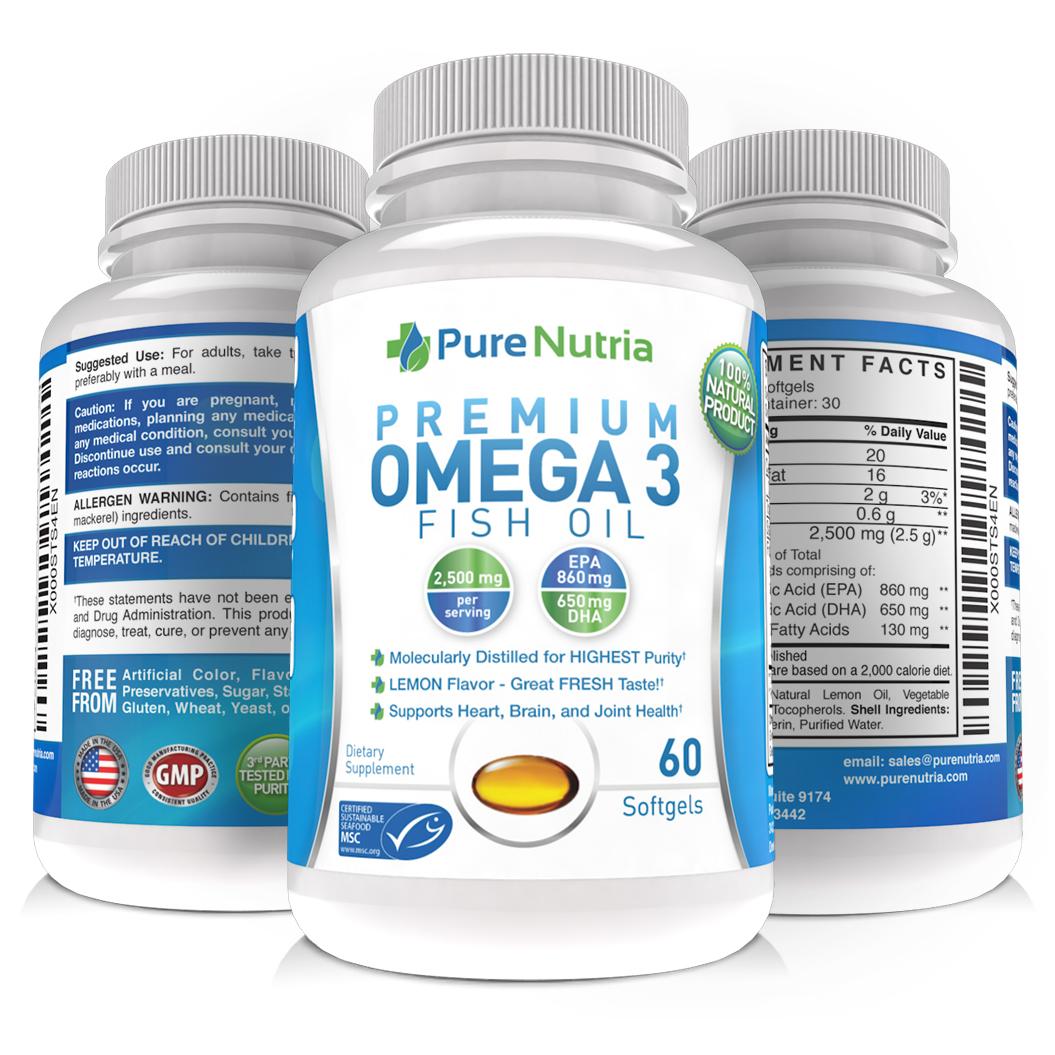 PureNutria - Premium Omega 3 Fish Oil