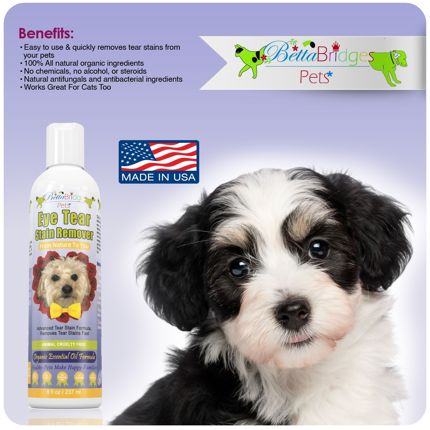 BettaBridges Pets Natural Tear Stain Remover