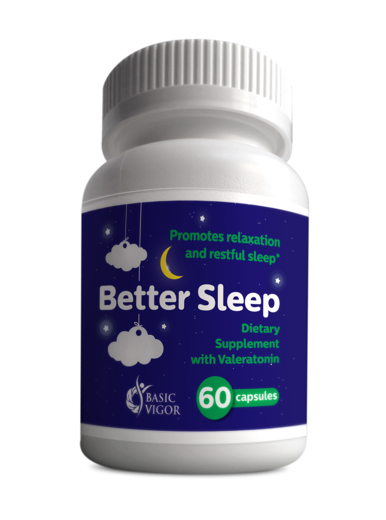 Better Sleep Valeratonin Natural Relaxation Aid from Basic Vigor Nutraceuticals