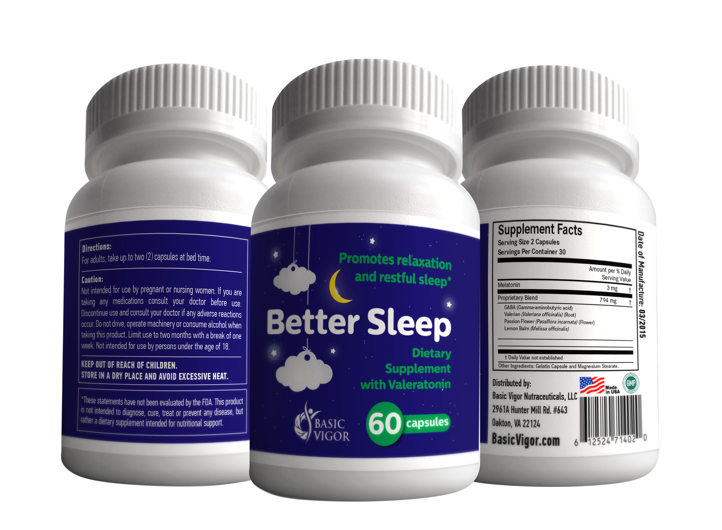 Better Sleep Valeratonin Natural Relaxation Aid from Basic Vigor Nutraceuticals contains melatonin and a proprietary blend of valerian, GABA, passion flower and lemon balm.